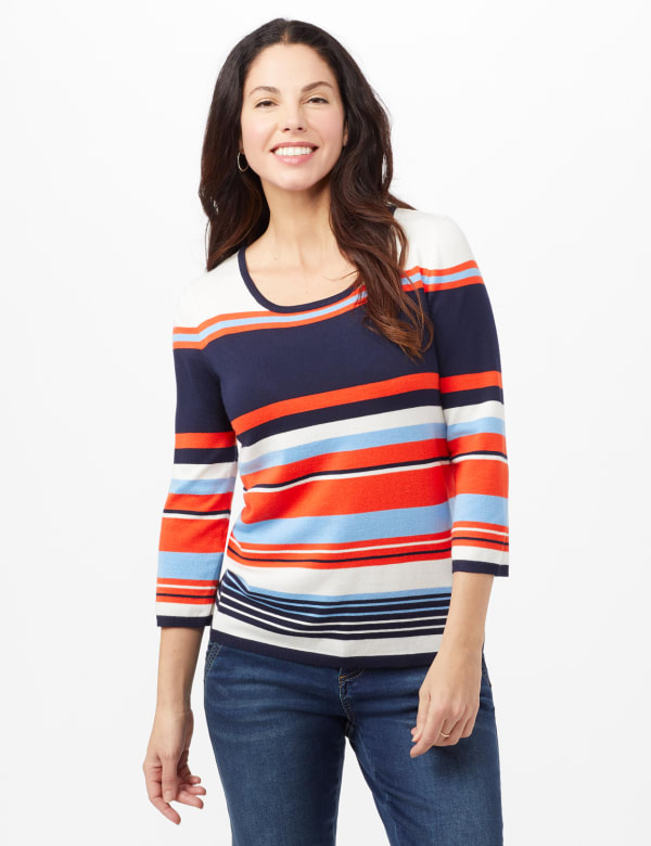 Stripe Lace-Up Back Sweater - Stripe - Front