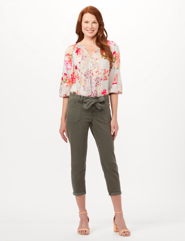 Belted Cargo Pants with Roll Cuff Bottom