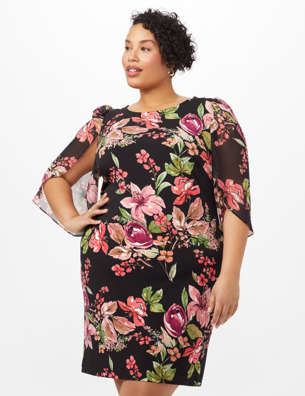 Floral Knit Dress with Chiffon Sleeves - Black - Front