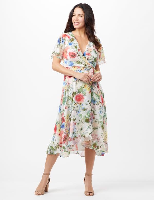 Floral Chiffon Wrap Ruffle Dress - Ivory/Pink - Front