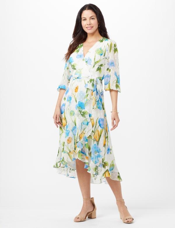 Jacquard Chiffon Wrap Ruffle Hem Dress - Cream/Turq - Front