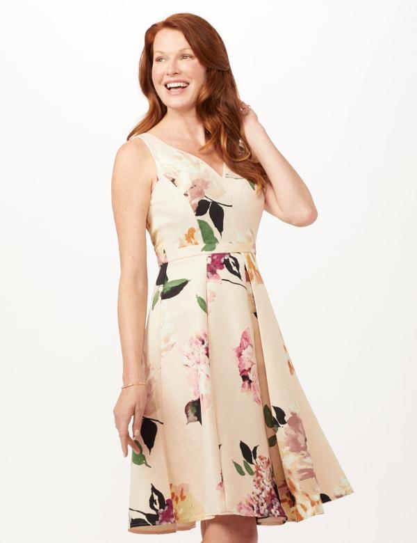Jacquard Box Pleat Floral Dress - Powder/Mauve - Front