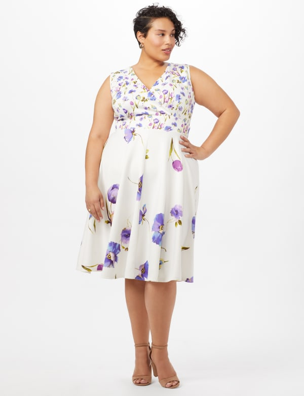 Mock Wrap Scuba Dress - Ivory/Peri - Front