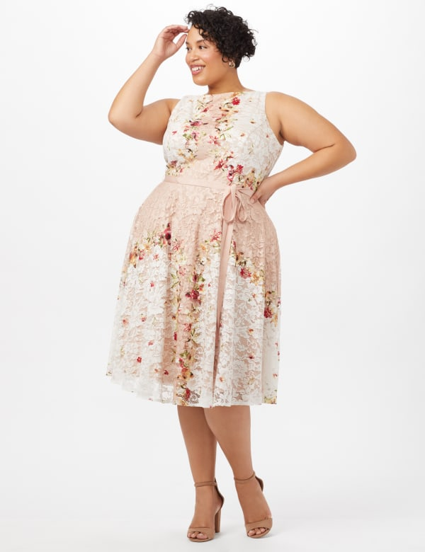 Printed Lace Dress with Grosgrain Ribbon Belt - Cream/Blush - Front