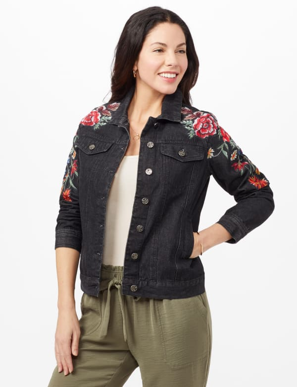 Long Sleeve Embroidered Denim Jacket - Black Denim - Front