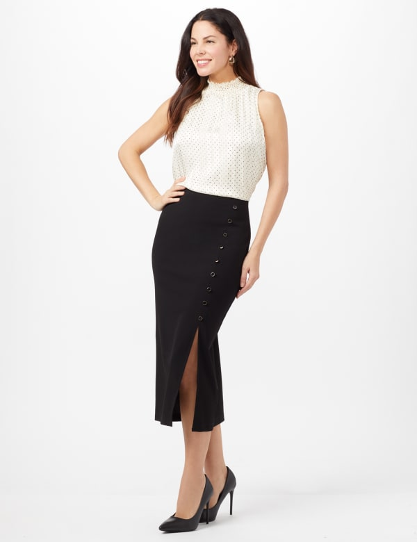 Side Slit Pull-On Pencil Skirt with Button Detail - Black - Front