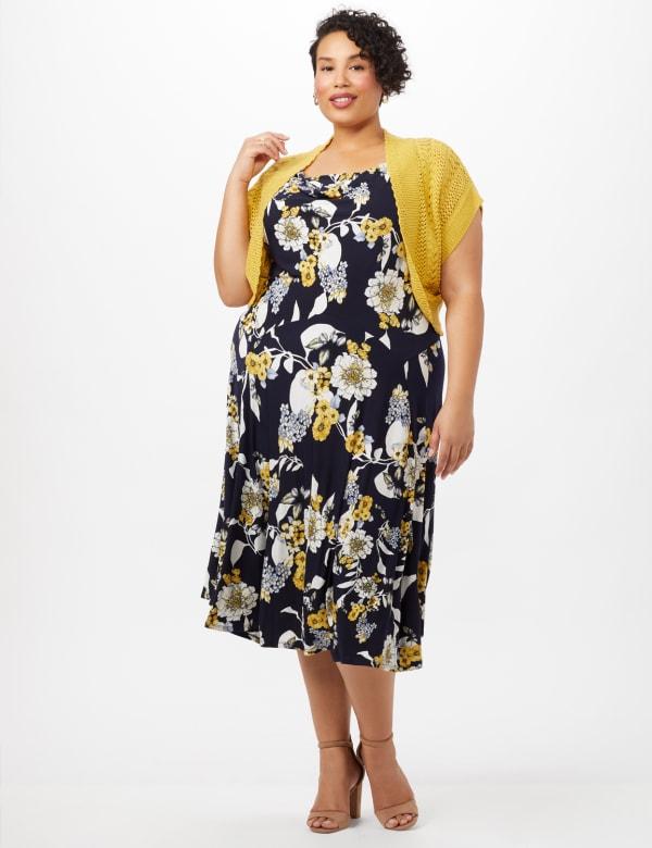 Crochet Sweater Drape Neck Floral Dress - Navy/Yellow - Front