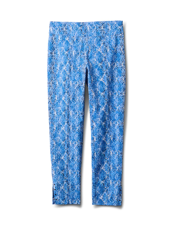 Printed  Superstretch Pull On Pants -Blue Snake - Front