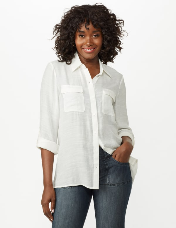 Textured Button Front Tunic Shirt