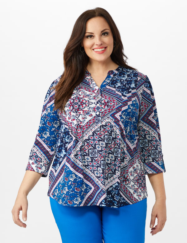 Patchwork Pintuck Popover - Blue - Front