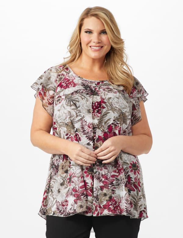 Floral and Palm Flyaway Top -Burgundy - Front