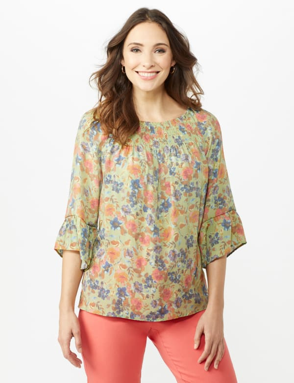 Flare Sleeve Floral Smocked Texture Top - Sage - Front