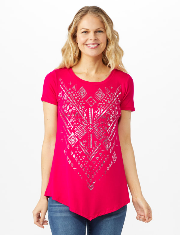 V Front  Knit Screen Tunic - Misses - Fuschia - Front