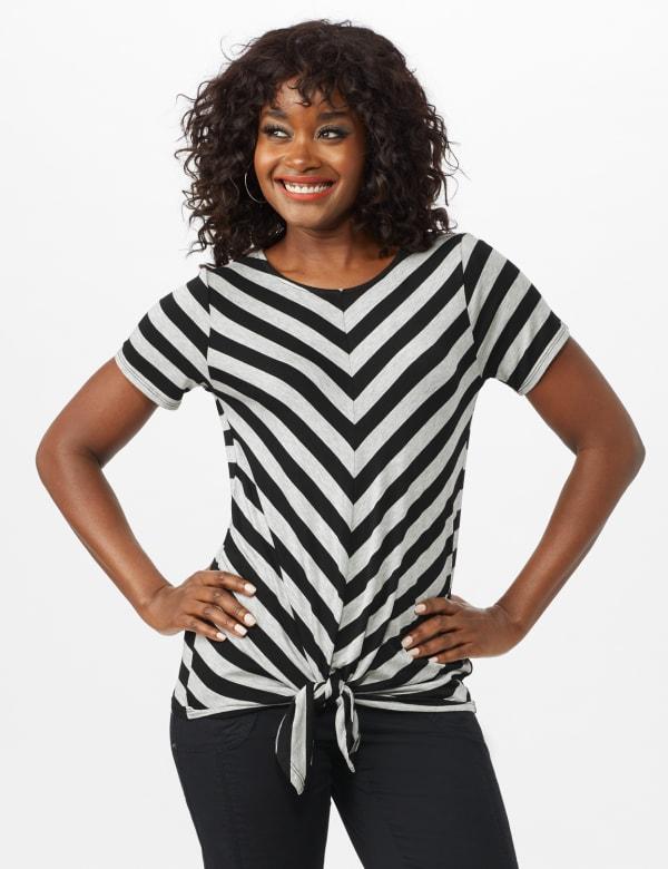 Mitered Stripe Tie Front Knit Top - Misses - Grey/Black - Front