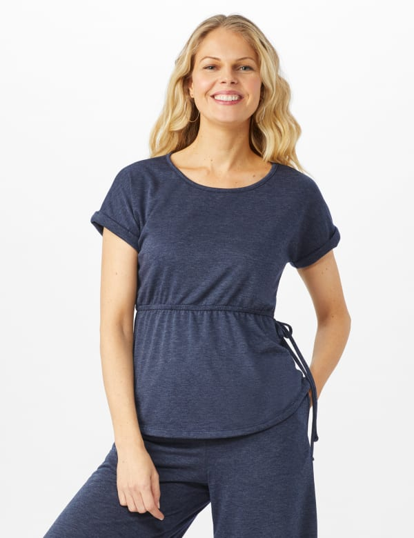 Cinch Waist Heathered Knit Top - Blue - Front