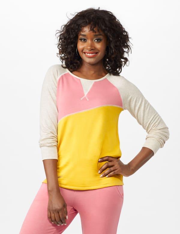 Color Block Sweatshirt w/ Stitch Detail - Coral - Front