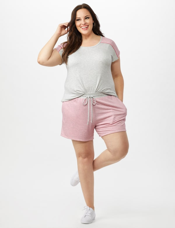 Stripe Drawstring Knit Short - Pink - Front