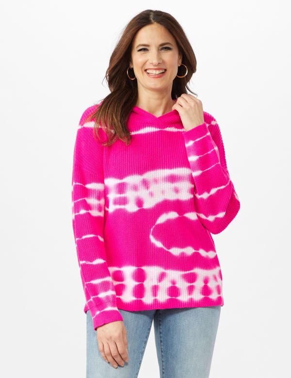 Tie Dye Hoodie Sweater - Hibiscus Pink - Front