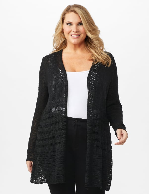 Textured Duster -Black - Front