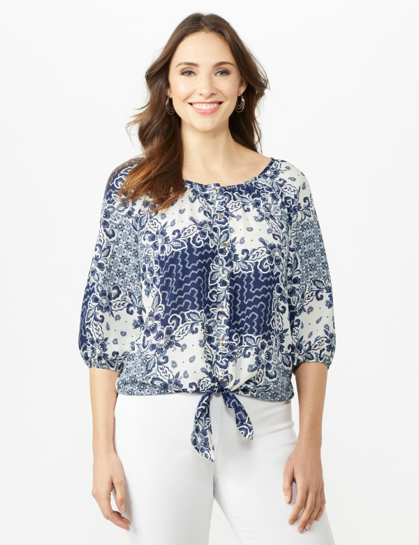 Patchwork Peasant  Tie Front Top - Blue - Front