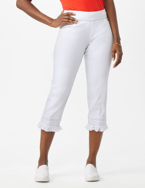 Pull on Crop Pants with Novelty Fringe Hem - Optic White - Front