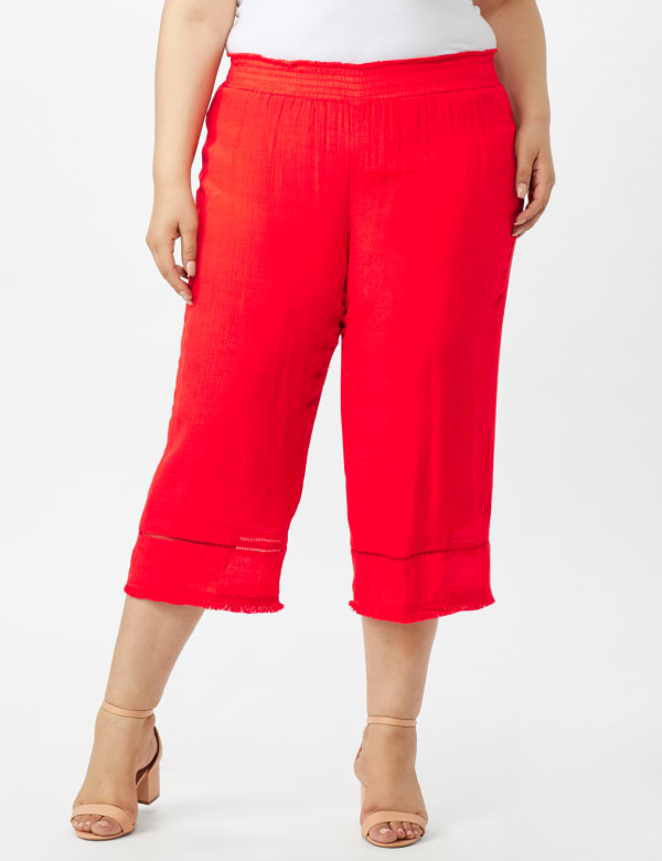 Pull on Wide Leg Crop Pants with Fringe Trim - Coralicious - Front