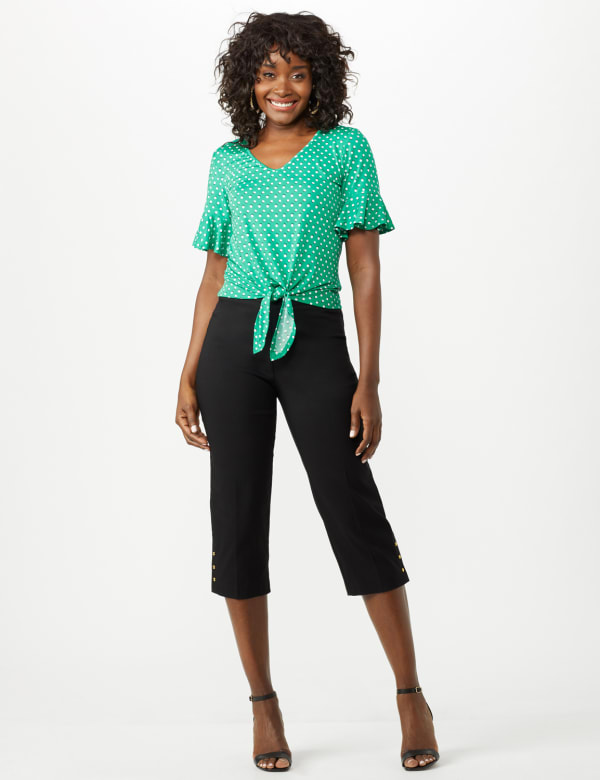 Pull On Crop Pants - Black - Front