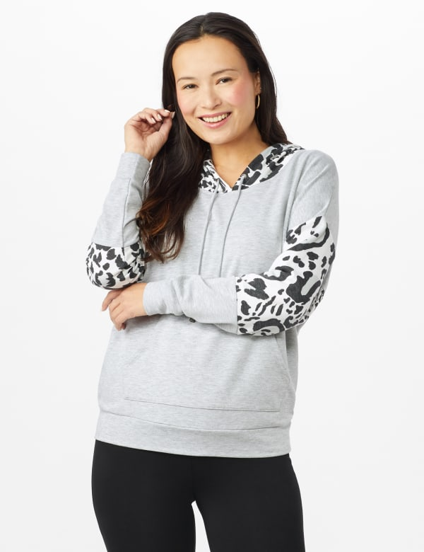 Leopard Trim Mix Media Hoodie - Heather Grey - Front