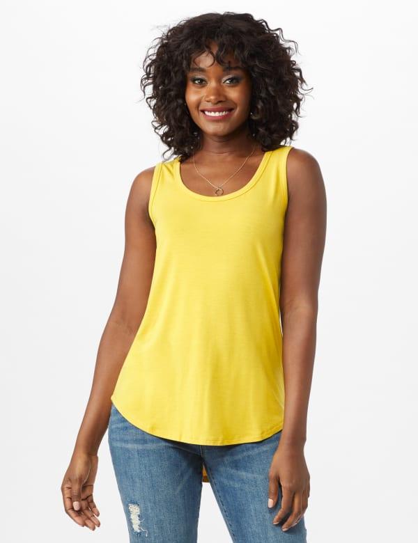 Hi Lo Hem Tank - Mustard - Front