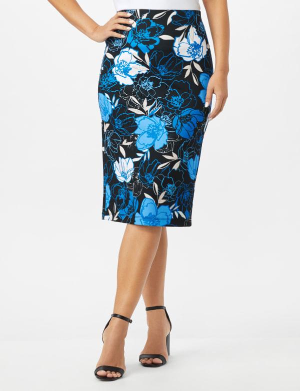 Scuba Crepe Etched Floral Print Skirt - Blue - Front