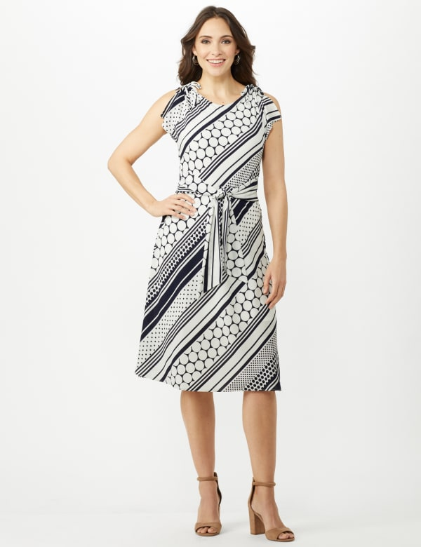 Diagonal Dot and Stripe Dress