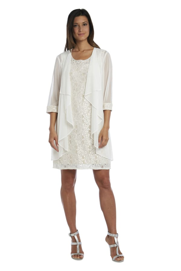 Beaded Neck Lace Dress With Cascade Jacket - Ivory/Taupe - Front