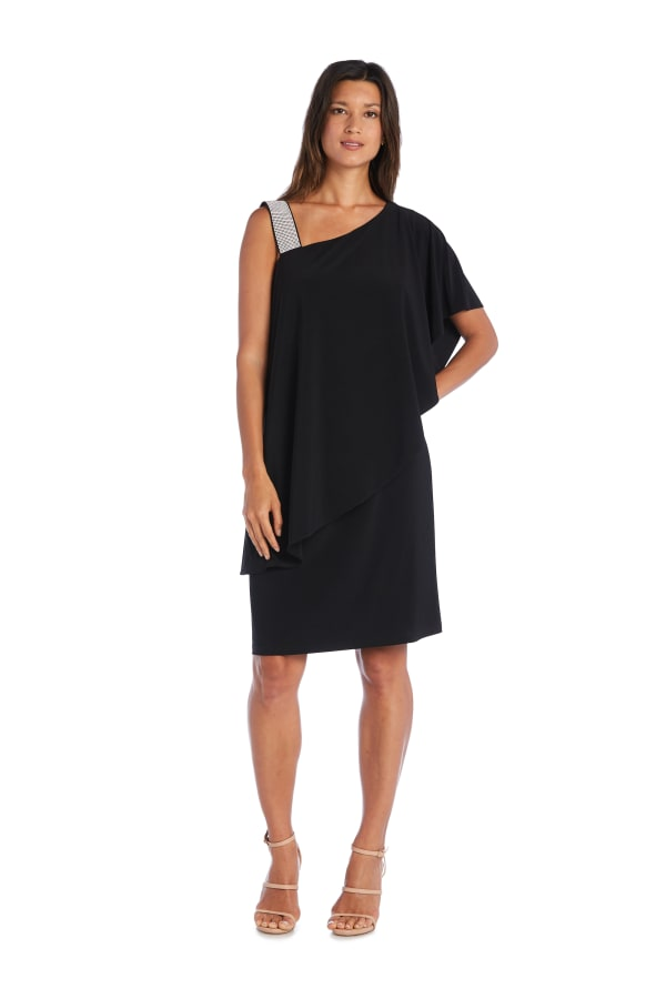 Asymmetric Knee-Length Dress with Draped Shoulder and Diamante Strap - Black - Front