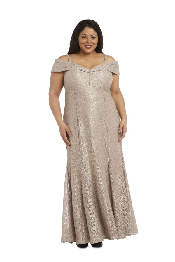 Off the Shoulder Glitter Lace Gown Godet Pleats at Hem - Plus - Champagne - Front