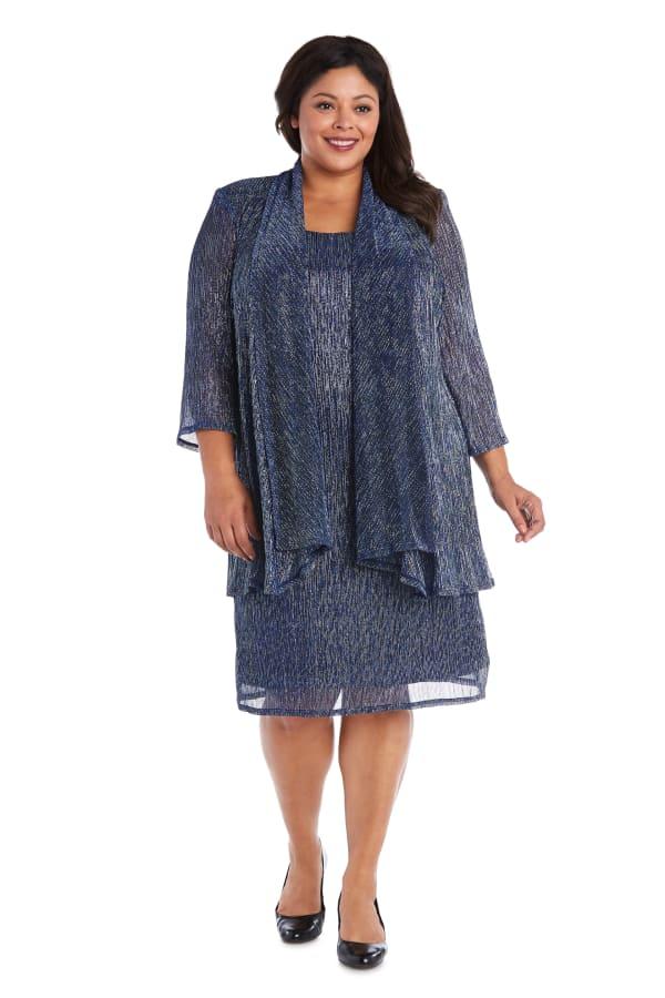 2pc Flyaway Metallic Jacket Dress - Plus - Blue - Front