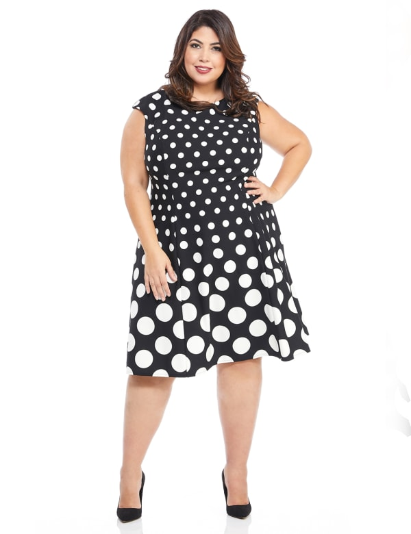 Cap Sleeve Graduated Dot Dress - Plus - Black/White - Front