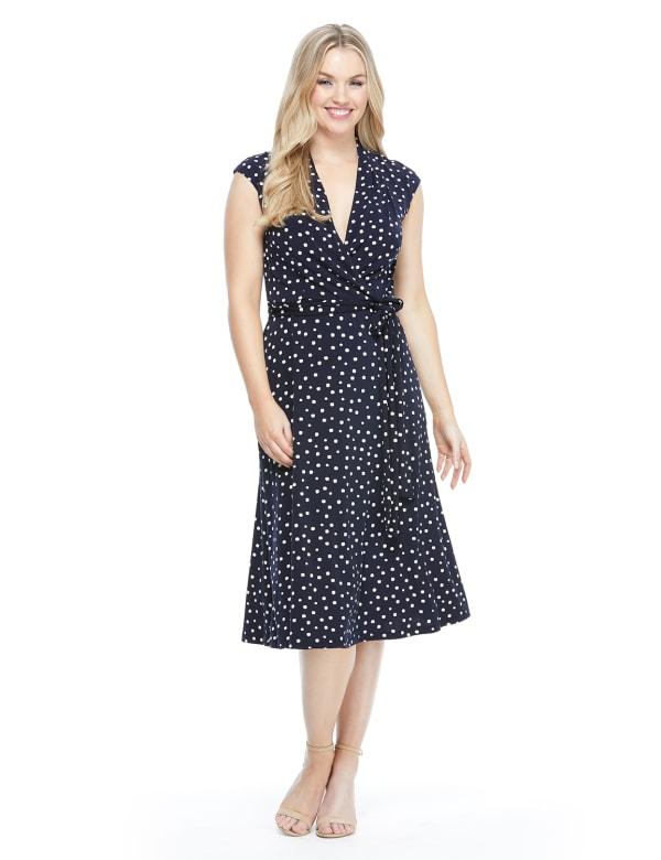 Tie Belt Wrap Dot Jersey Dress - Navy/White - Front