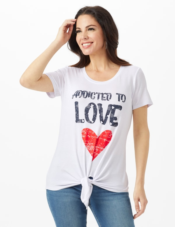 Addicted to Love  Tie Front Screen Tee