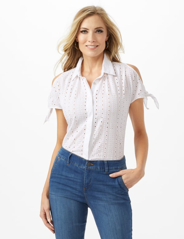 Eyelet Button Front Shirt - White - Front