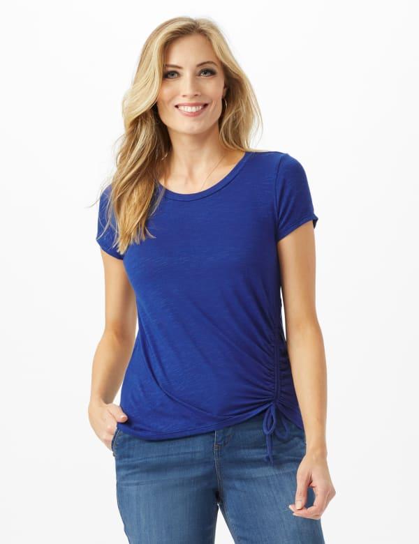 Asymmetrical Side Cinch Knit Top - Petite - Blue - Front