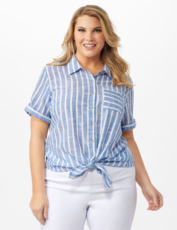 Dressbarn Lurex Stripe 1 Pocket Shirt - Plus -Blue - Front