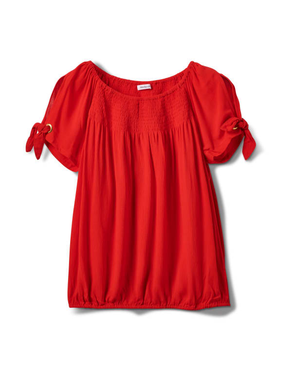 Smocked Peasant Grommet Tie Sleeve Top - Misses - Red - Front