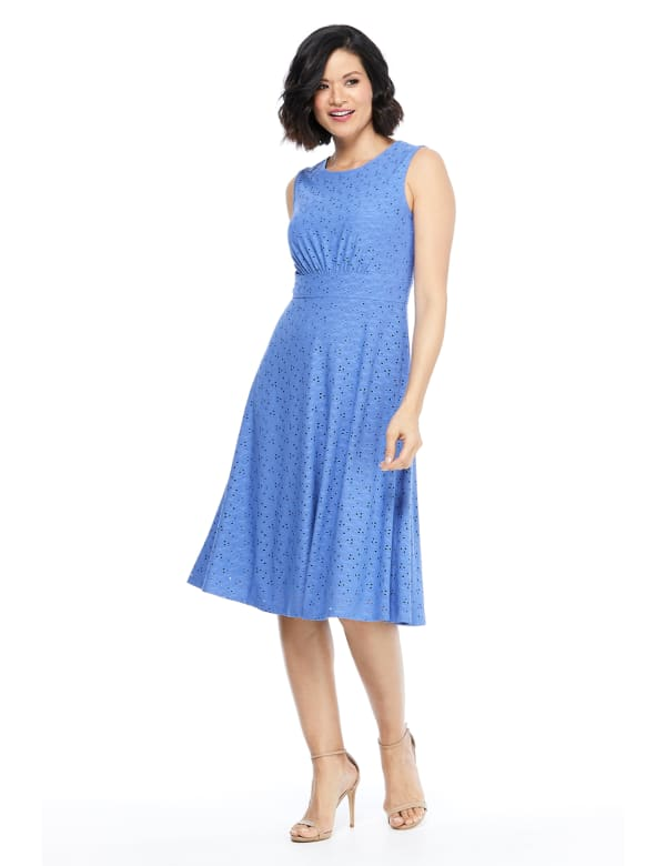 Sleeveless Eyelet Jersey Midi Dress - Cobalt - Front