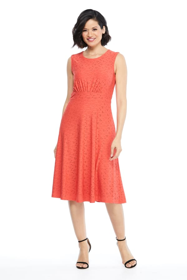Sleeveless Eyelet Jersey Midi Dress -Coral - Front