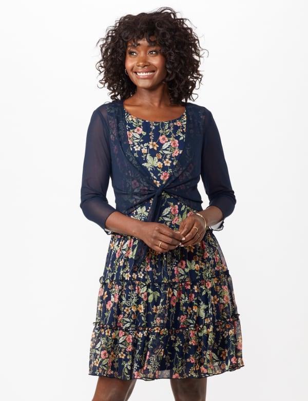 Sleeveless Ditsy Flounce Dress
