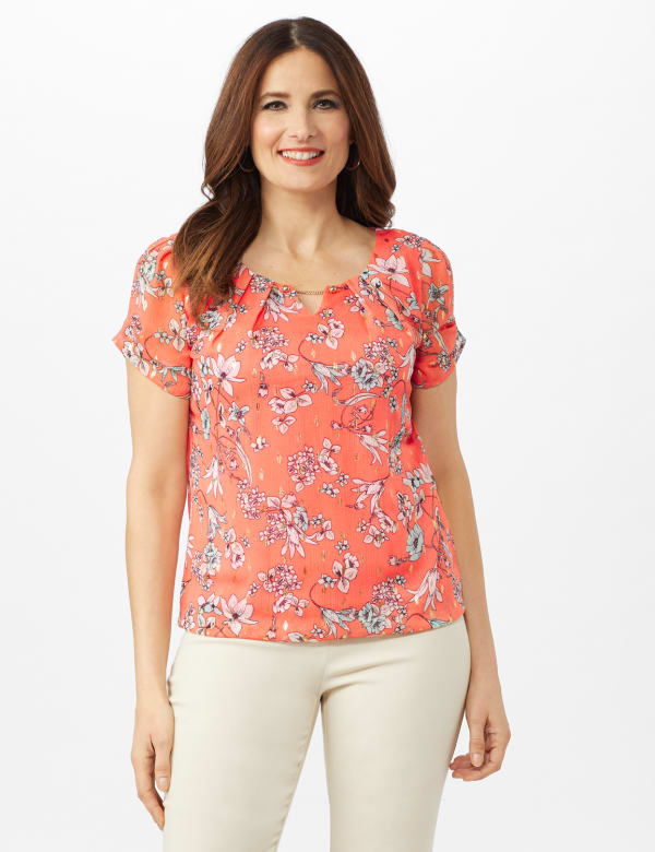 Chain Trim Floral Bubble Hem Top - Petite - Coral - Front