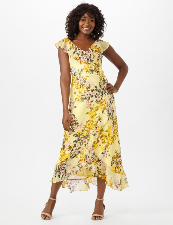 Mock Wrap Floral Chiffon Dress - Yellow - Front