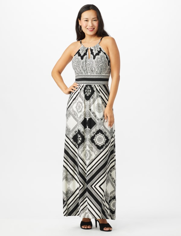 Halter Neck  Medallion Print with Stripes Maxi Dress - White/Black - Front