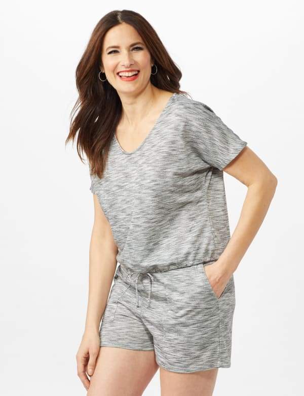 Space Dye French Terry Knit Top - Grey - Front