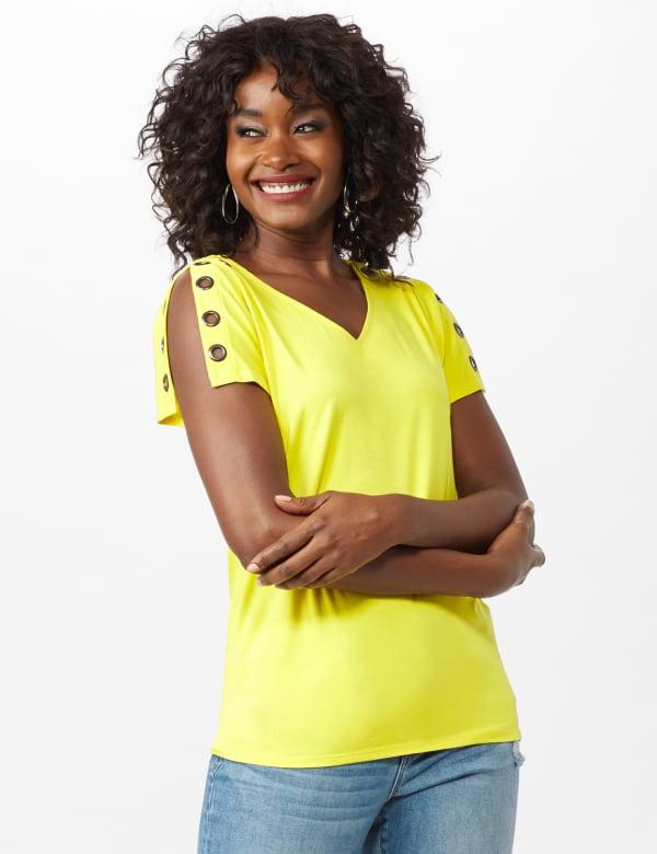 Grommet Trim Split Sleeve - Highlighter Yellow - Front